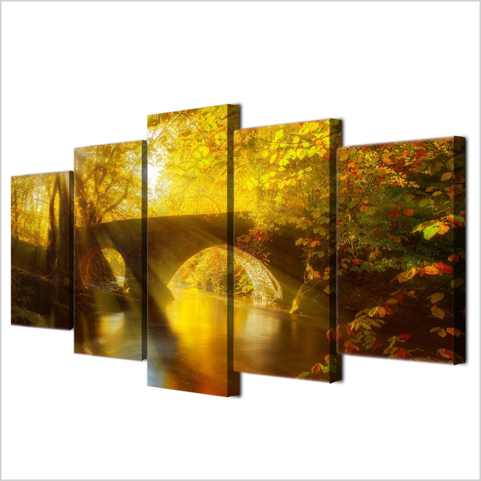 Canvas Painting Modern Art Live Wall 5 Pieces Sun Shining Bridge ...