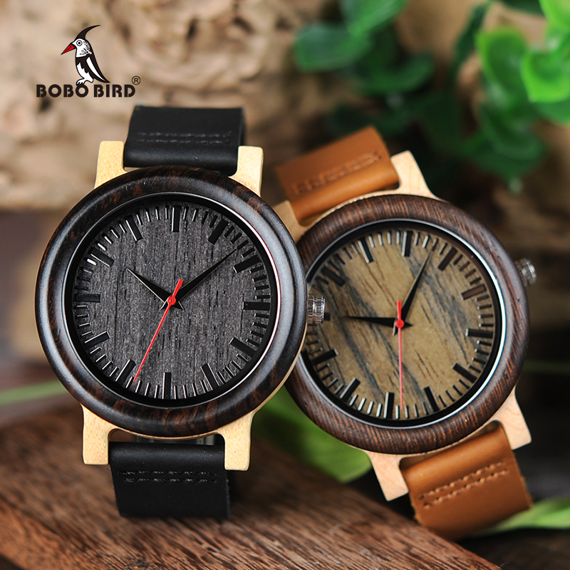 BOBO BIRD Men Wooden <font><b>Watches</b></font> Leather Strap Luxury Quartz Wristwatch Timepieces relojes hombre M13M14 Customized Logo image