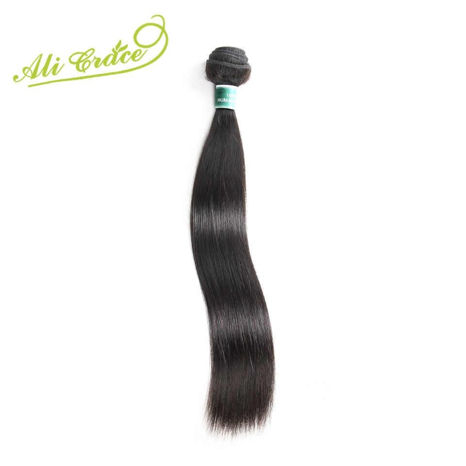 ALI GRACE Haar Maleisische Steil Haar Weave 1 Bundel Alleen Natuurlijke Kleur 100% Remy Human Hair Extension 10-28 inch Gratis Verzending