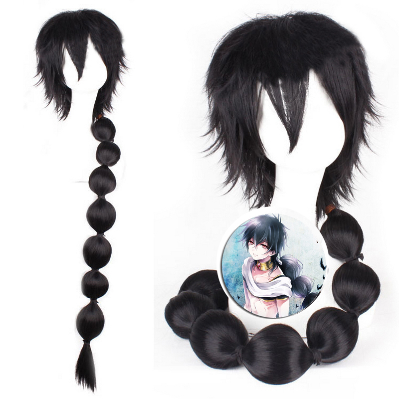 100cm Magi Judaru Cosplay Wig Black Long Ponytail Synthetic Hair Wigs For Anime Costume Halloween Party Heat Resistant Fiber