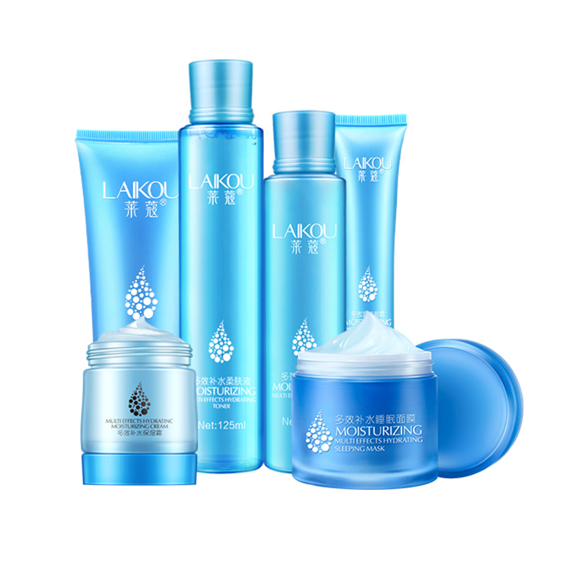Hyaluronic Acid Facial Skin Care 6 Pcs Suit Face Skin Care Set Moisturizing Cream+Toner+Cleanser+Eye Cream+Lotion+Sleeping Mask new arrival red pomegranate cleanser cream lotion smoothing toner skin care beauty set moisturizing freckle dark spot remover