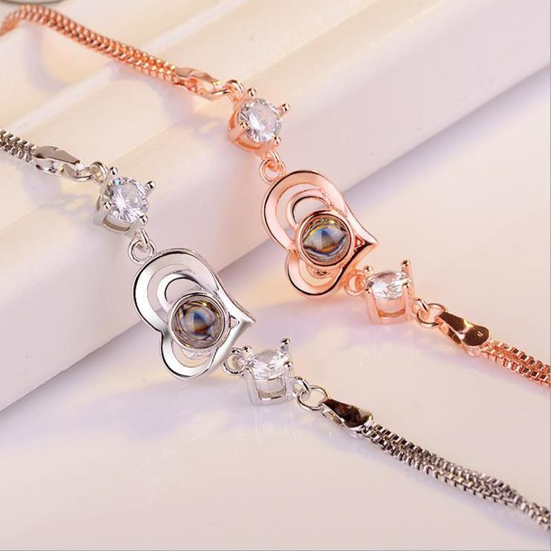 TJP Top Quality Lady Silver 925 Bracelet Jewelry Women Vintage Rose Gold Crystal Heart Bracelet For Lady Valentine 39 s Day Gift in Charm Bracelets from Jewelry amp Accessories