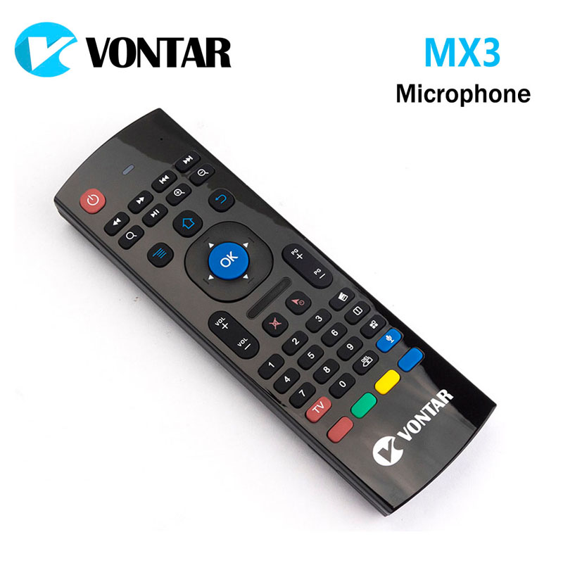 VONTAR 2.4GHz MX3 Wireless Keyboard Fly Air Mouse QWERTY GYRO Sensing Remote IR Learning voice microphone for Android TV box vontar 2 4ghz fly air mouse wireless keyboard c2 remote control with ir learning function for smart tv android tv box pc