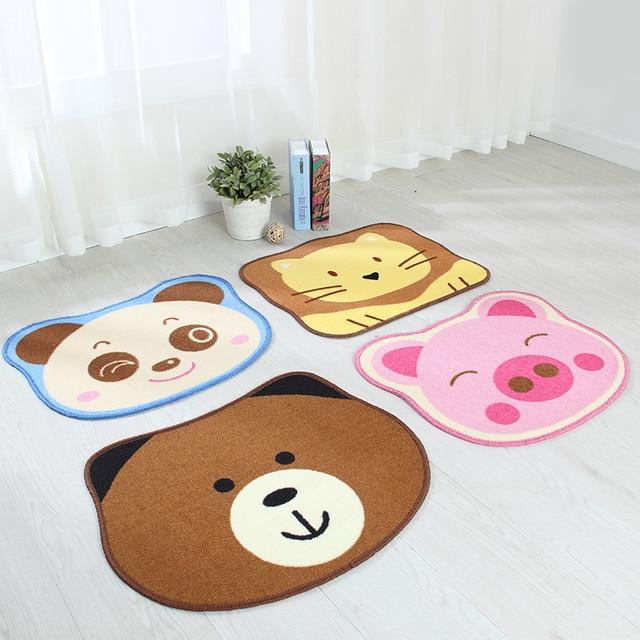 45 55cm Cute Cartoon Animal Pattern Round Non Slip Bathroom Rug Living Room Mat