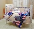 7 Pieces Crib Baby Bedding Set Baby Nursery Cot Bedding Crib Bumper/Quilt/ Sheet/pillow case Hot Crib Bedding Set