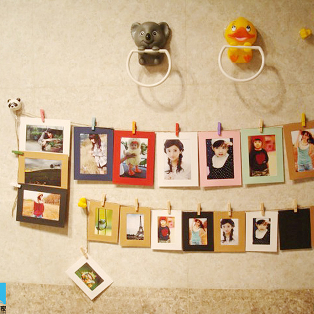 2017 10X Paper Photo Frame DIY Wall Art Hanging Album Frame Gallery With  Hemp Rope Clips Decor Drop Shipping