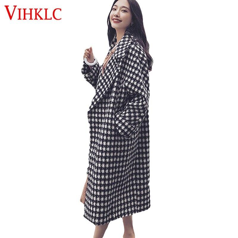 Winter Women Warm Loose Size Short Dress Coat Plaid Retro Woolen Coat Wool Coat