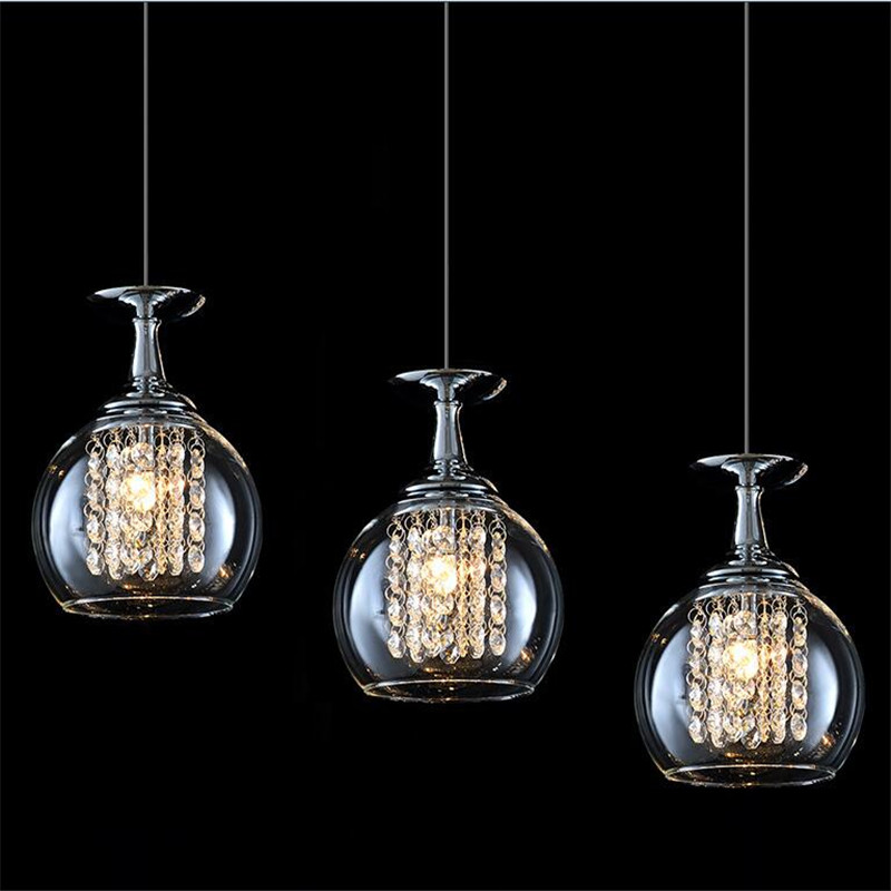 Luxurious Elegant Creative Modern K9 Crystal Glass Globlet Led Pendant Light for Dining Room Bar Restaurant AC 80-265V 1361 modern fashion luxurious rectangle k9 crystal led e14 e12 6 heads pendant light for living room dining room bar deco 2239