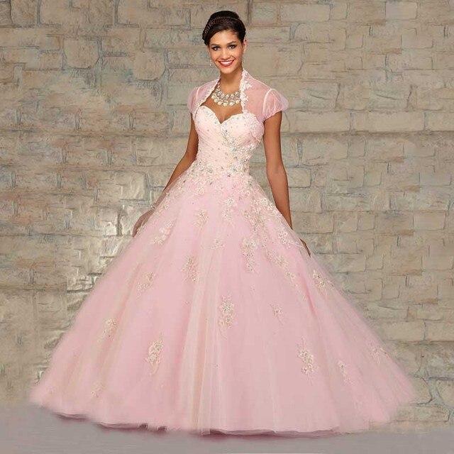 f0f55794f 2016 vestido De bola rosa vestido De quinceañera con la chaqueta De novia  De cristales brillantes