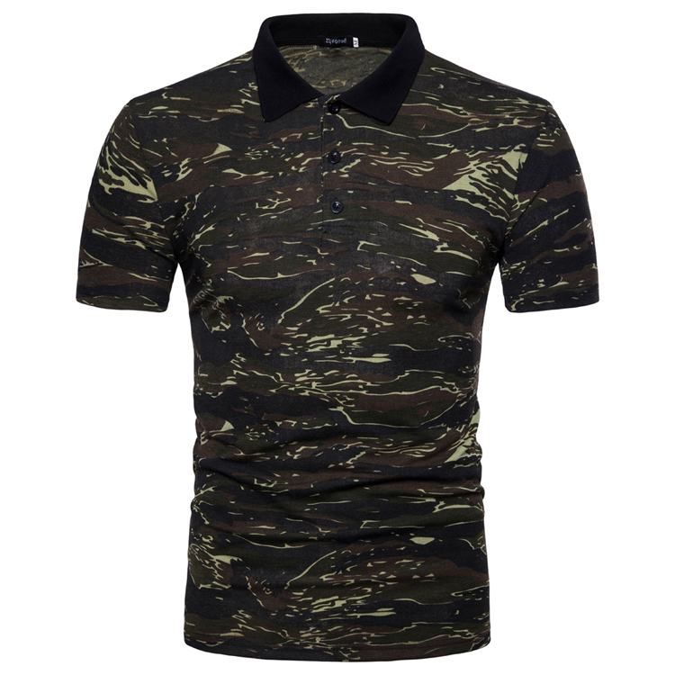 Men's Top Regular Gradient Print Breathable Cotton Short Sleeve 2018 Spring And Summer New Casual Camouflage Polo Shirt 40
