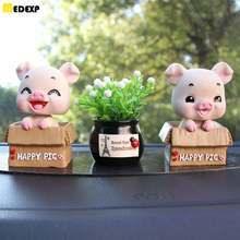 Car decoration creative resin spring cute shaking head pig and artificial flower car accessories toy  gift недорого