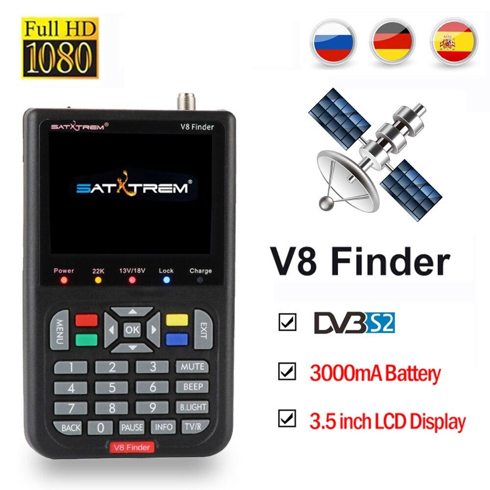 Localizador de TV DVB-S2 V8 Localizador de 3.5 polegada LCD HD localizador de satélite sentou localizador de satélite digital Finder Medidor Navio da Espanha