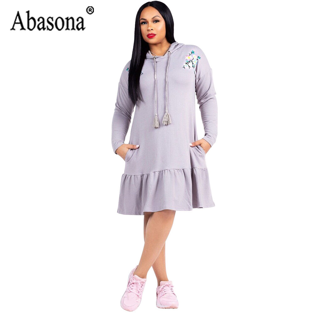 Abasona Autumn Long Sleeve Women Dress Solid With Pocket Casual Hooded Dress Women Straight Ruffle Knee Length Dresses Elegant
