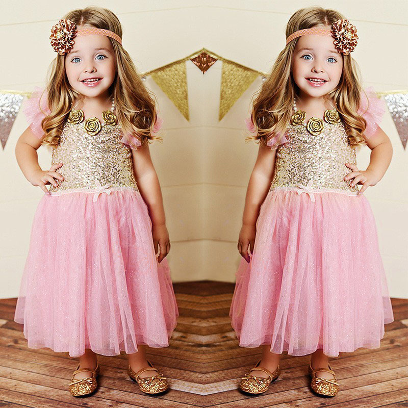 Girls Christmas Dress Summer Kids Clothes Sequin Petal Sleeve Party Cotton Lace Baby Girls Dresses Toddler Girl Clothing LM57