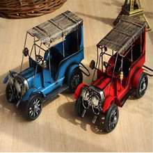 Metal Old Car Figurine Vintage Vehicle Model Retro Automobile Boy Toy Gift Home Office Decor Furniture