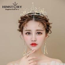HIMSTORY Handmade Gold Eiffel Tower Designs Hair Crown Earring Rings  Bridal Wedding Fascinator Accessory Headdress