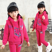 Children's Clothing Girls Winter Clothing Set 3PCS Thicken Plus Velvet Hoodie Set Girl High Quality Winter Suit 110-160
