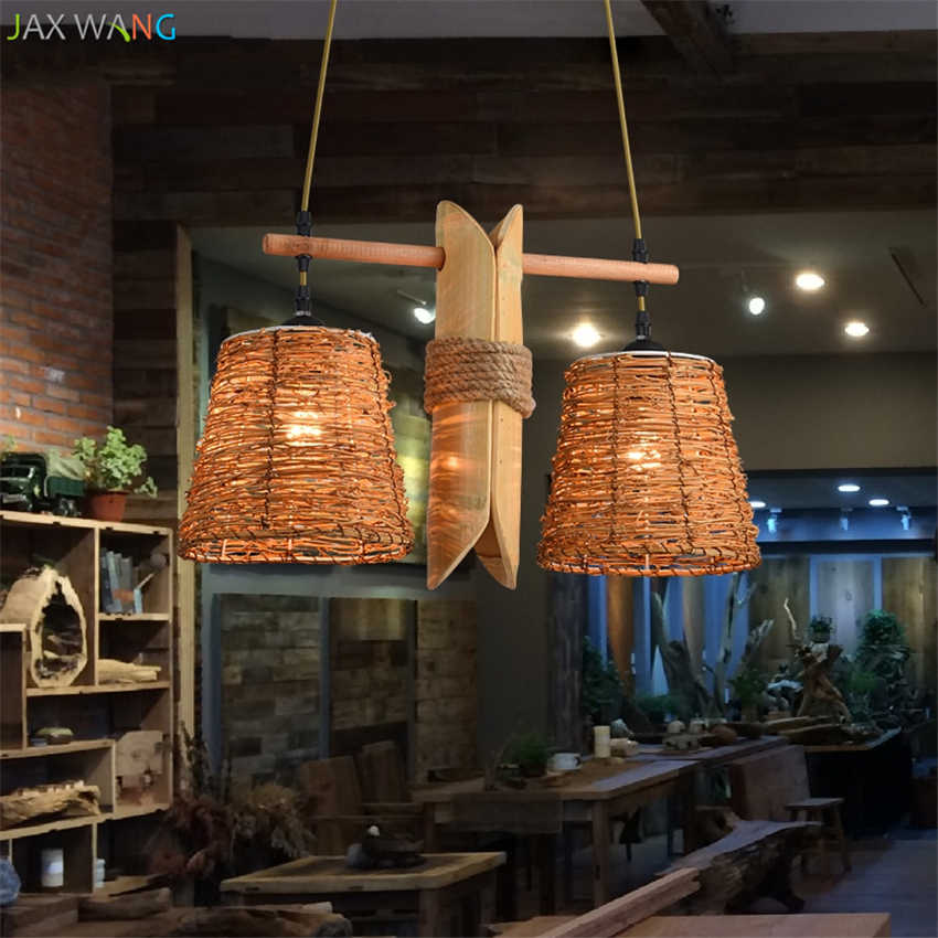 Японский ротанга бамбук подвесные светильники пеньковая веревка свет Китайский лампы фонари ресторан, бар деревянный подвесной светильник