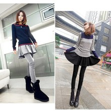 Lady s Skirt New Sweet Lovely Brief Pleated Skirt and Slim Fit Leggings Fake Two Pieces