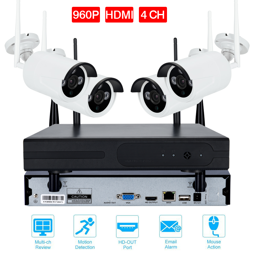4CH CCTV System HDMI NVR 4PCS IR Outdoor P2P Wireless IP CCTV Camera 720P/960P/108P Security System IP Camera Surveillance Kit cctv system 4ch cctv kit 720p 960p 1080p 2 0 hdmi p2p onvif 4ch nvr 4pcs ip camera security 4pcs array ir leds ip camera kit