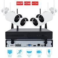 4CH CCTV System HDMI NVR 4PCS IR Outdoor P2P Wireless IP CCTV Camera 720P 960P 108P