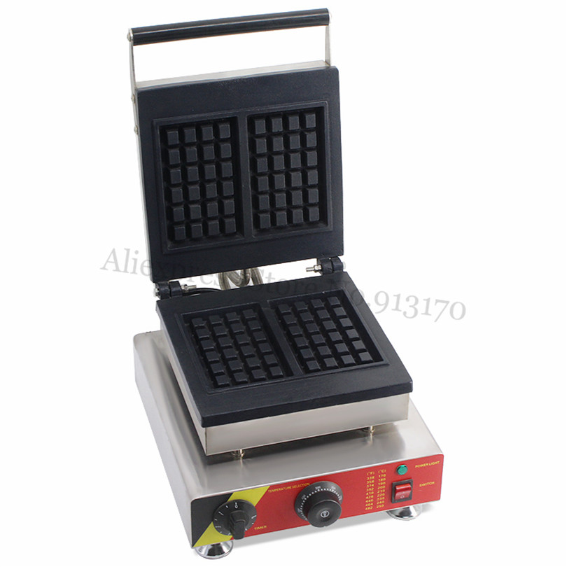 Electric Rectangle Waffle Baker Machine Stainless Steel Belgian Waffle Maker with 2pcs In One Tray Nonstick Cooking Surface economic and elegance waffle maker machine baker doulbe head electric churros with bar shaped and popsicle