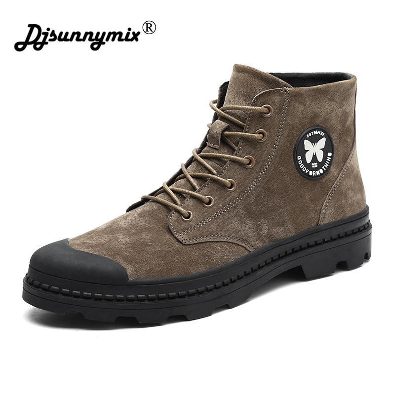 DJSUNNYMIX 2018 New Fashion Men Boots Handmade Casual Men Martin Boots Spring Autumn Working Boots zhen zhou 2017 spring and autumn women s new fashion trend leadership the increased martin boots exemption from postage