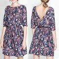 Новый 2016 Женская Мода Лето Тропический Платье Цветочным Принтом Vestidos Половина Рукава Повседневные Платья Женщины Плюс Размер Бесплатная Доставка