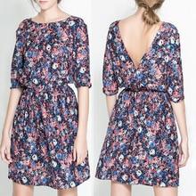 New 2018 Fashion Women Summer Tropical Dress Floral Print Vestidos Half Sleeve Casual Dresses Women China