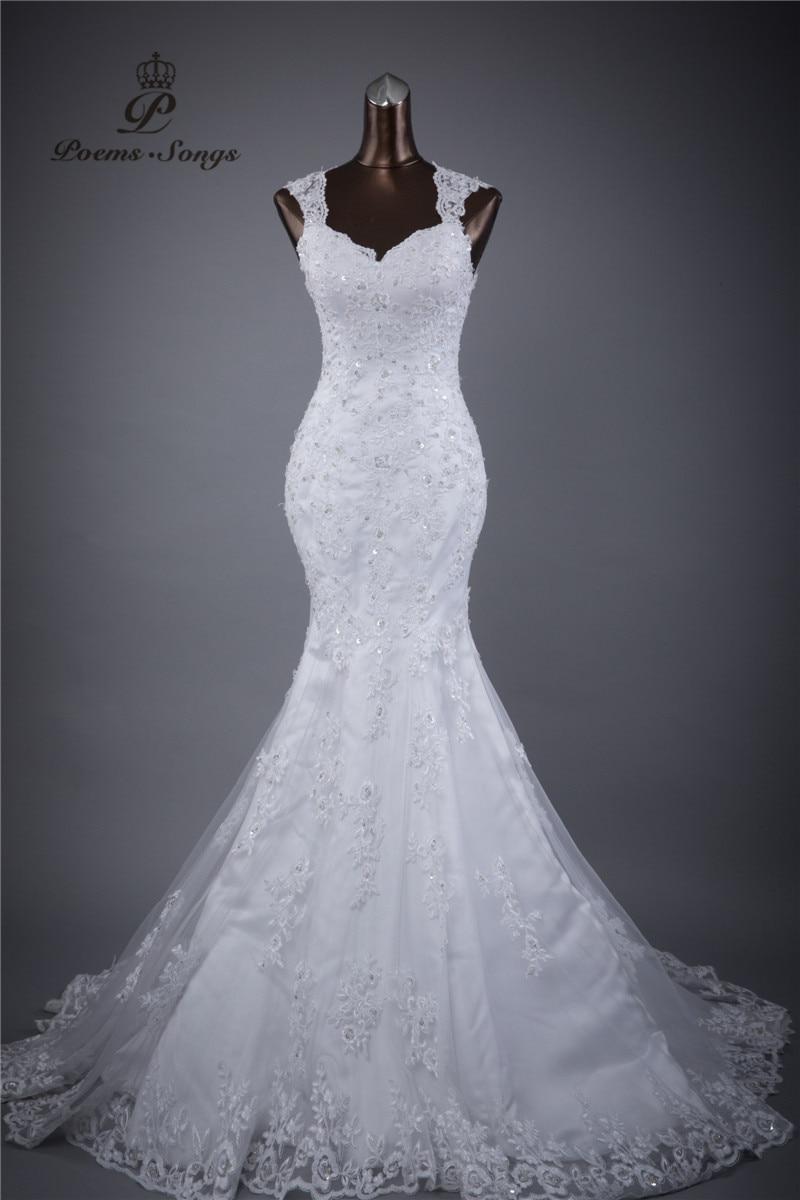 riktigt foto golvlängd långt tåg Lace Blommor Sexy Backless Mermaid Bröllopsklänning Vestidos de Noiva Mantelklänning