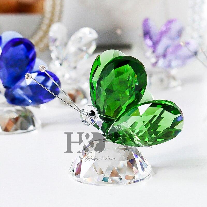 H & D Élégant Cristal En Verre Animal Papillon Figurine Artisanat Presse-papiers Figurine X'mas Cadeaux Maison De Mariage Décor (6 Couleurs)
