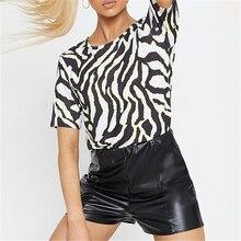 купить Sexy Leopard O-Neck Harajuku Women T-Shirt Short Kawaii Print Female T Shirt 2019 Summer Fashion Tops Casual Beach Clothing дешево