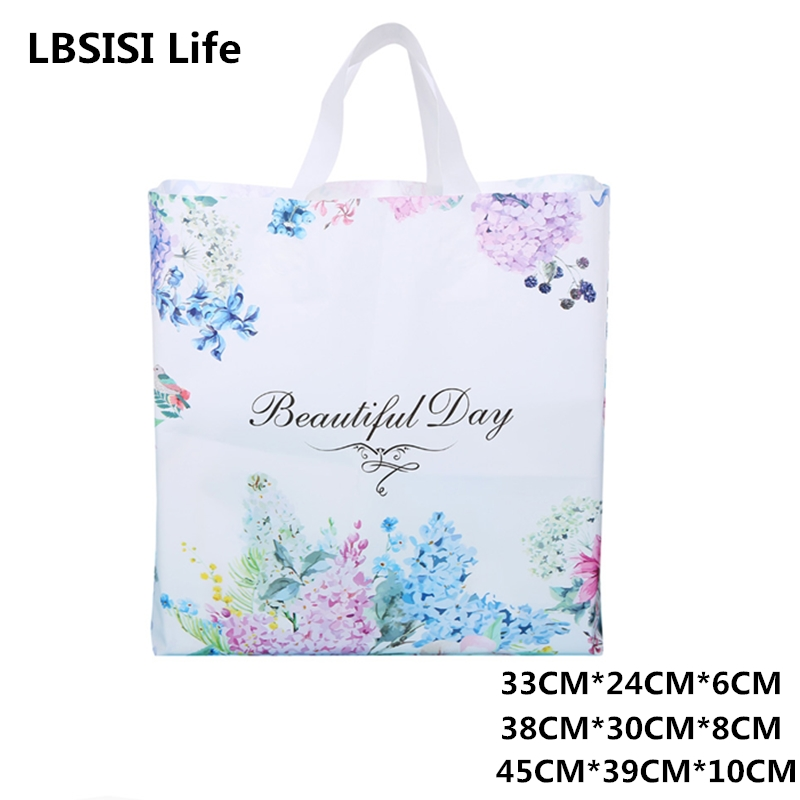 LBSISI Life Customized Plastic Bags Flower Handbag With Print Your Logo Packaging Cloth Plastic Gift Bags Wedding Party