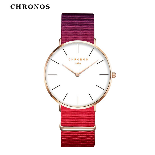 14222fcb86e Watches Women 2017 Unisex Nylon Watches CHRONOS Rose Gold Lady Clock Men  Relogio Masculino Reloj Mujer Horloge Orologi Donna
