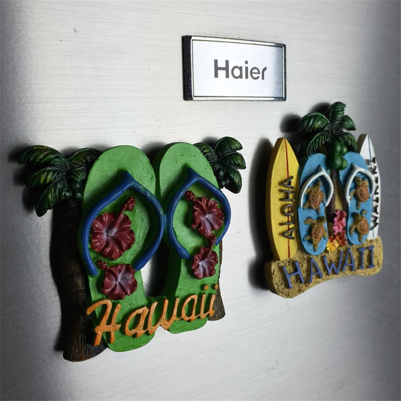 Freeshipping Harz Figur Hawaii Tourist Souvenir Beach Turtle Flip Flop ALO-HA Home-Office Kühlschrank Dekoration Magnet Geschenke Spielzeug