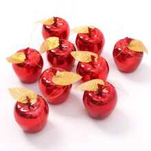 Christmas Decoration 12Pcs Apples Christmas Tree Hanging Ornament Home New Year Party Events Fruit Pendant Red Golden