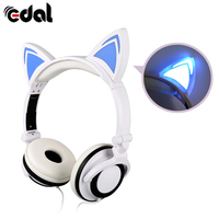 Glowing Cute Cat Ear Shaped Headphones Foldable Earphone With LED Light For PC Laptop Universal Phones