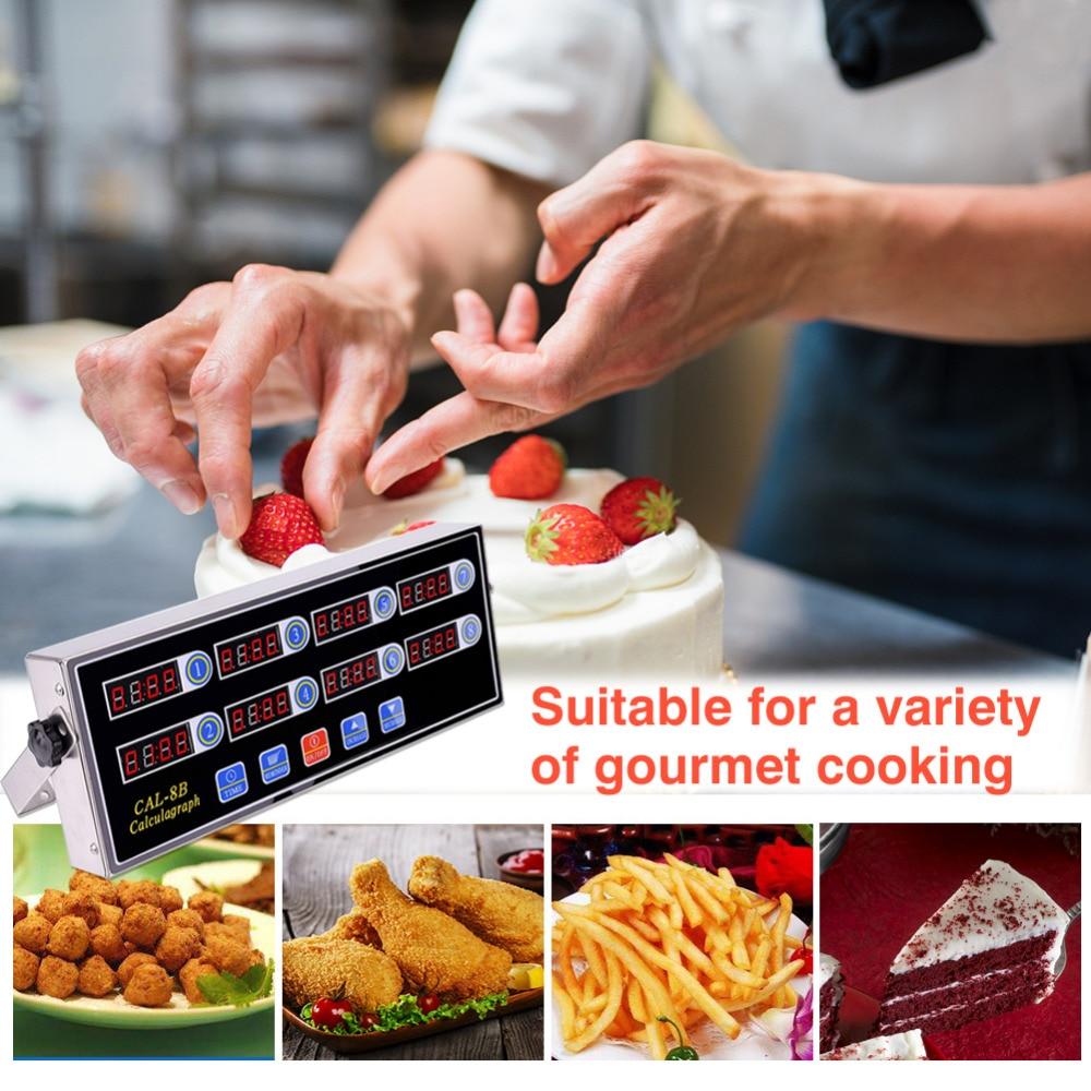 Numérique Cuisine Minuterie Magnétique Cuisson Thermohygromètre 8 Canal avec Grand ÉCRAN LCD Numérique Minuterie de Cuisine