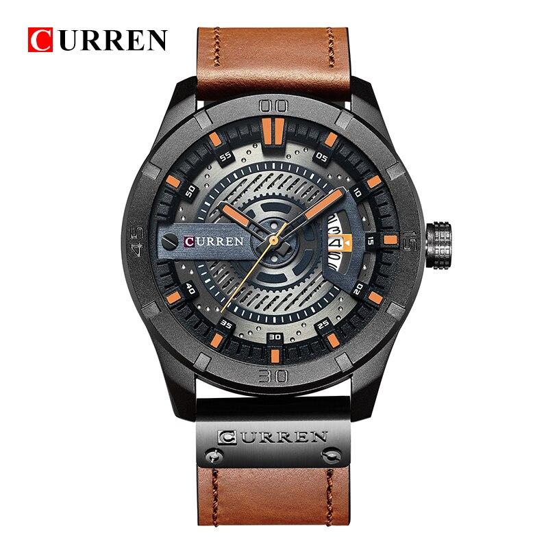 2018 Marque De Luxe CURREN Hommes Sport Militaire Montres Hommes de Quartz Date Horloge Homme En Cuir Décontractée Montre-Bracelet Relogio Masculino n9