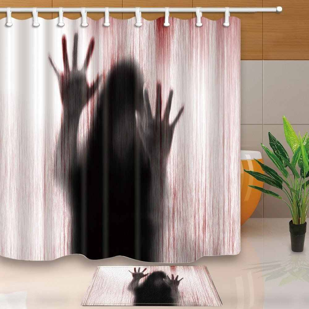 Mysterious Scary and funny Woman Silhouette Shadow Waterproof Polyester Fabric Shower Curtain Set With Floor Doormat Bath Rugs
