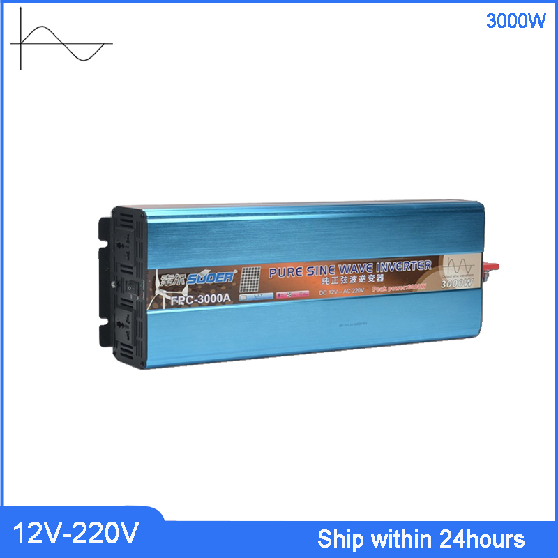 3000 W onduleur haute puissance DC 12 V à AC 220 v onduleur/camion avec Port USB 5 V/prise personnalisée transformateur à onde sinusoïdale Pure - 4