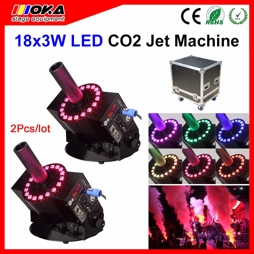 2pcs/lot fly case packing 18pcs*3W LED CO2 Cannon DMX512 CO2 Fog Machine Jet With 6Meter Hose dj Controller CO2 Machine 90V-240V