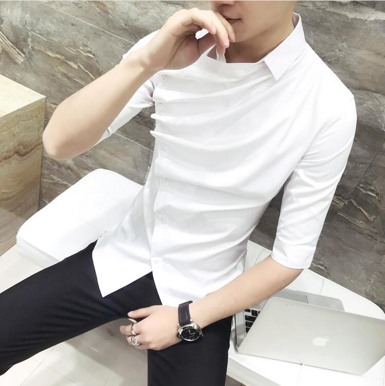 0d035b1b3384 2018 Summer Gothic Shirt Ruffle Designer Collar Shirt Black And White  Korean Men Fashion Clothing Prom Party Club Evening Shirts