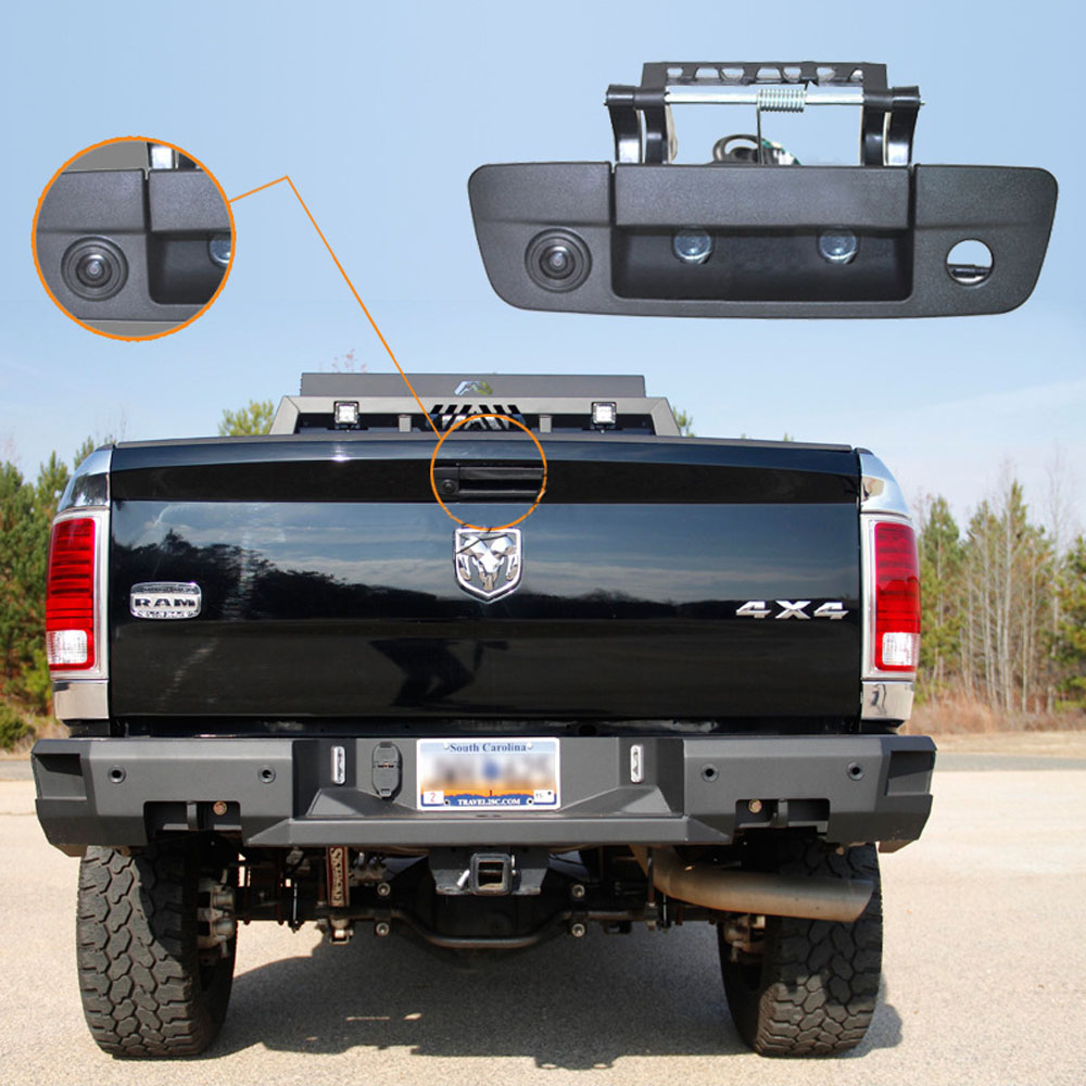 "7/"" Mirror Monitor+Tailgate Handle Backup CCD Camera for Dodge Ram 1500 2500 3500"