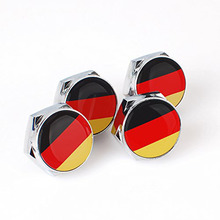 4pcs Chrome Metal Sports Style National Flag License Plate Frame Universal Screw Bolt Cap Cover with 100 Types Available