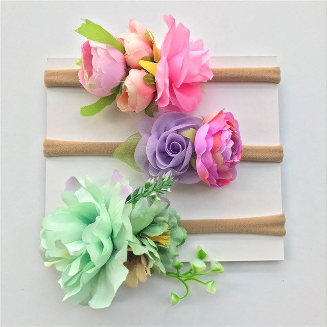 BalleenShiny 3 Pcs/lot Baby Girls Artificial Flower Headband