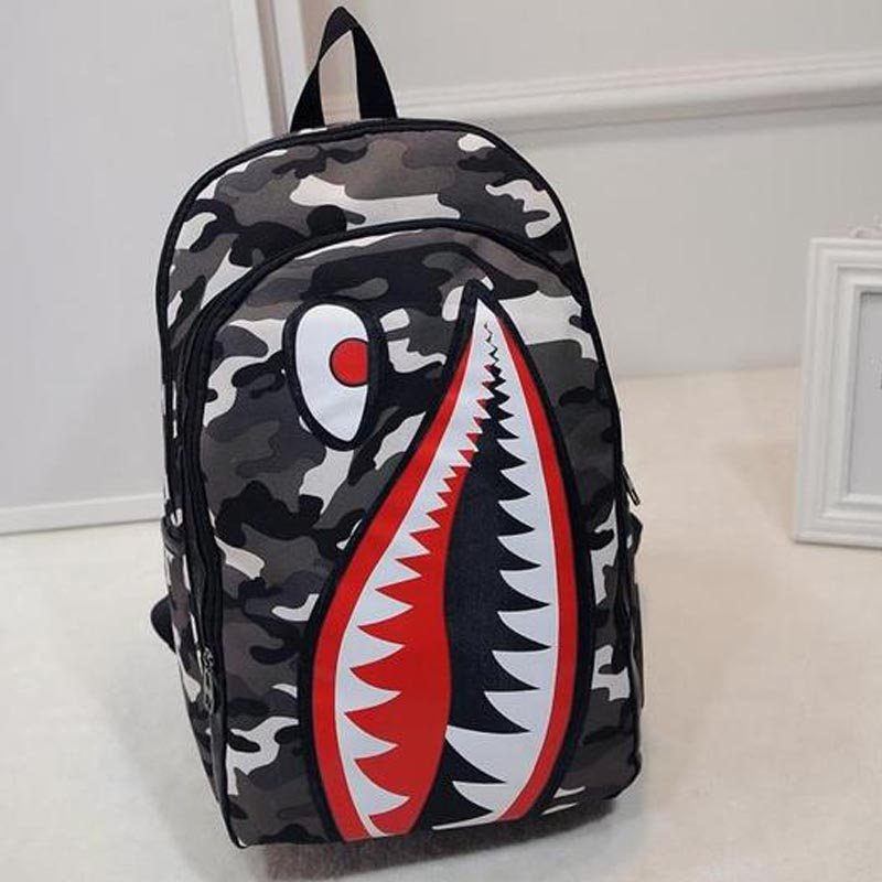 Outdoor Gym Bags Personality Shark Cartoon Backpacks Men And Women Canvas Bag Travel Student Sports Backpack Free Shipping Sale