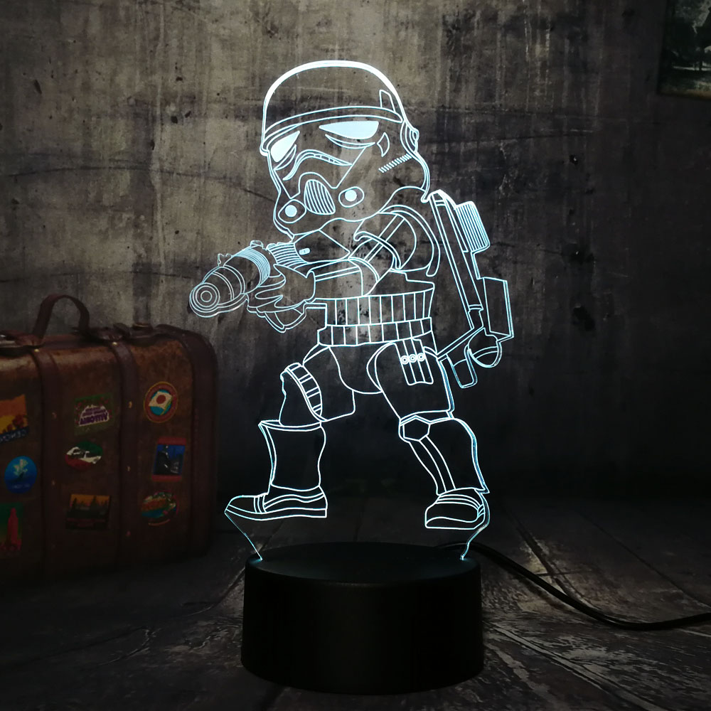 NEW Star Wars Imperial Stormtroope 3D LED Night Light 7 Color Chang Tbale Desk Lamp Home Decor Holiday Kid Boys Christmas Gift