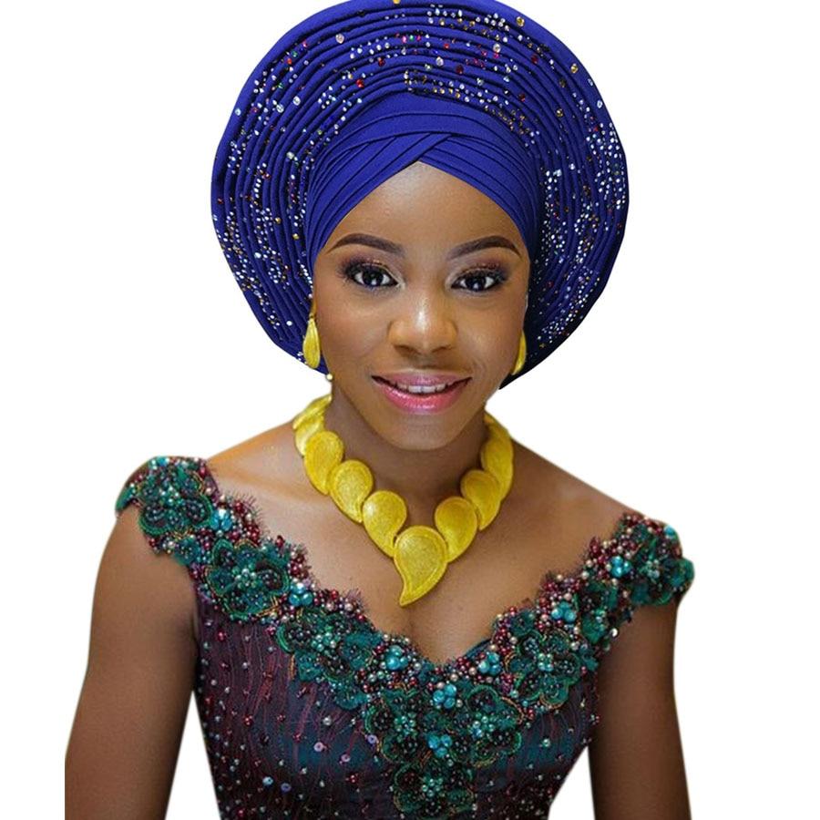 2018 New african aso oke cotton headtie nigerian gele headtie already made auto hele turban cap aso ebi big brim gele (6)