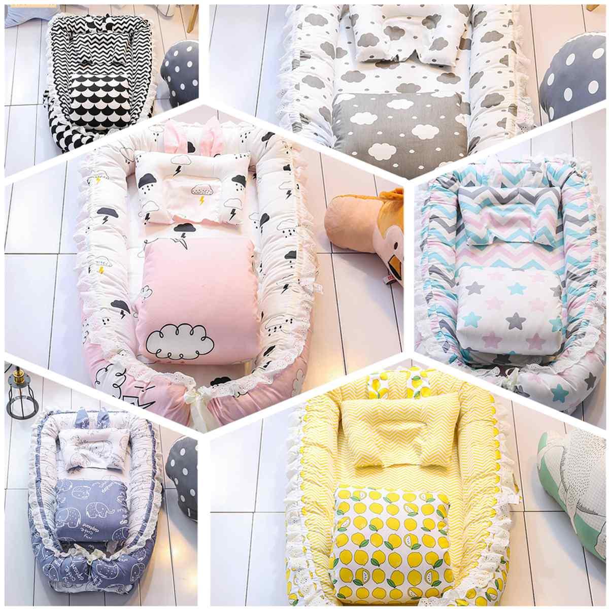 Cotton Sleeping Crib Baby Sleep Nest Bed Pillow Boys Girls Breathable Newborn Baby Sleep Bed Portable Detachable Mattress
